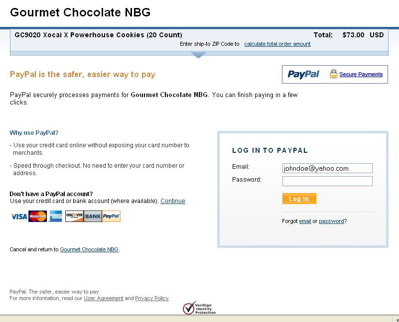 Using PayPal Account::Order Xocai Chocolate - Order Without Using PayPal Account