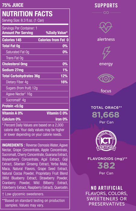 Xe Energy Nutrition Facts