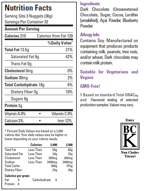 Xocai Chocolate Nuggets Nutrition Information
