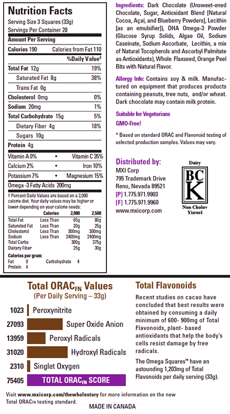 Xocai Omega Squares Nutrition Facts